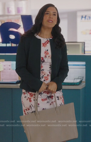 Shannon's white floral sheath dress on Kims Convenience