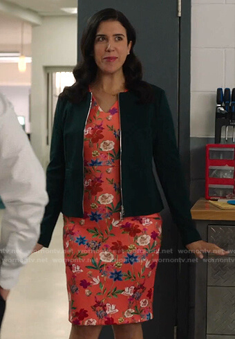 Shannon's coral floral print sheath dress on Kims Convenience