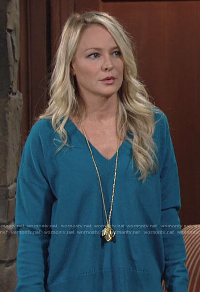 Sharon's teal blue v-neck sweater on The Young and the Restless