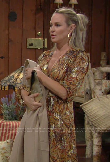 Sharon's yellow floral metallic maxi dress on The Young and the Restless