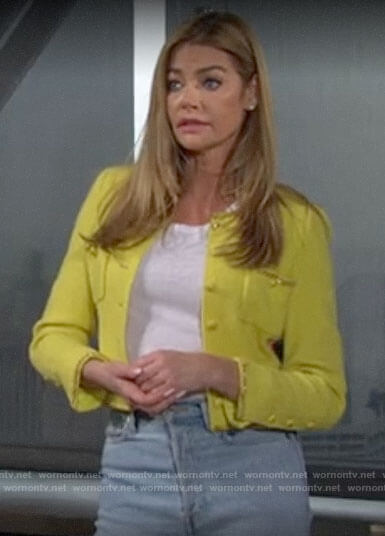 Shauna's yellow chain trim jacket on The Bold and the Beautiful