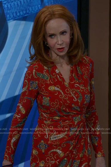 Sheila's red paisley print dress on Call Me Kat