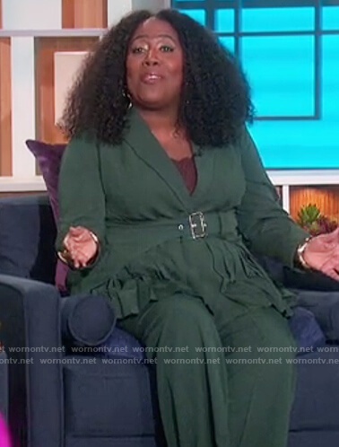 Sheryl's green belted blouse on The Talk