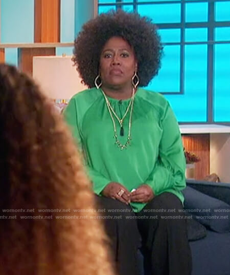 Sheryl's green balloon sleeve blouse on The Talk