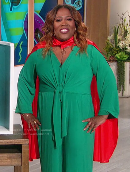 Sheryl's green tie waist jumpsuit on The Talk