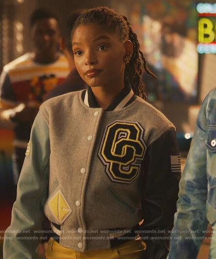 Skylar's patch colorblock jacket on Grown-ish