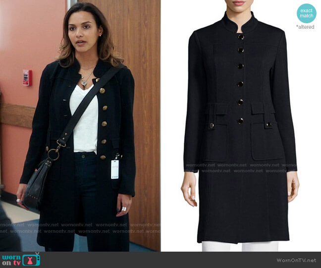 Santana Button-Front Long Military Jacket by St. John Collection worn by Jessica Lucas on The Resident