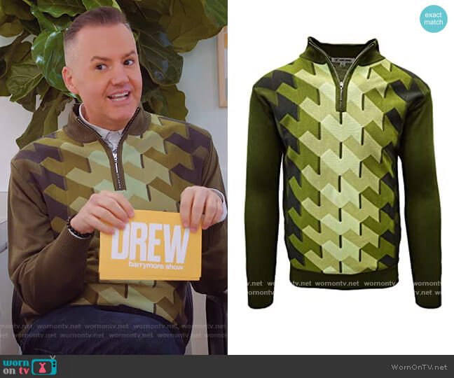 Ombre Geometric Front Design Sweater by Stacy Adams worn by Drew Barrymore  on The Drew Barrymore Show