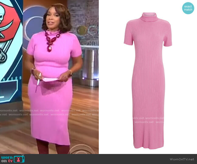 Staud Lilou Dress worn by Gayle King  on CBS This Morning