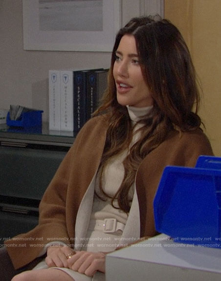 Steffy's cream turtleneck dress on The Bold and the Beautiful