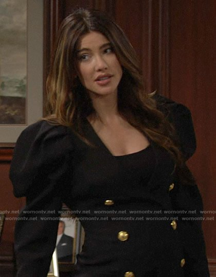 Steffy's black puff sleeve dress on The Bold and the Beautiful