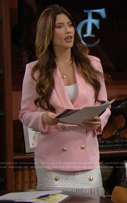 Steffy's pink double breasted blazer and fringed skirt on The Bold and the Beautiful