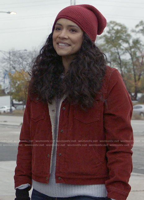 Stella's red sherpa trim jacket on Chicago Fire