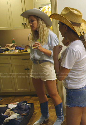 Stephanie's blue denim bowboy boots on The Real Housewives of Dallas
