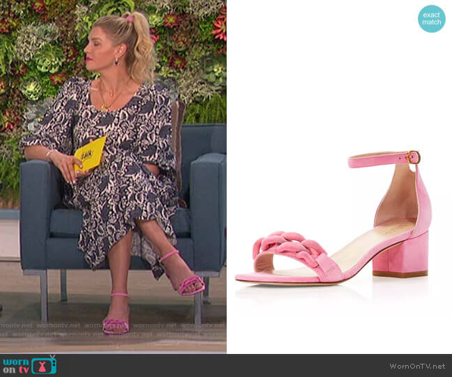 Amelina Block Heel Sandals by Stuart Weitzman worn by Amanda Kloots  on The Talk