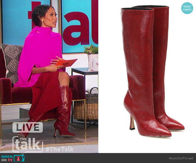 Parton croc-effect leather knee-high boots by Stuart Weitzman worn by Elaine Welteroth  on The Talk