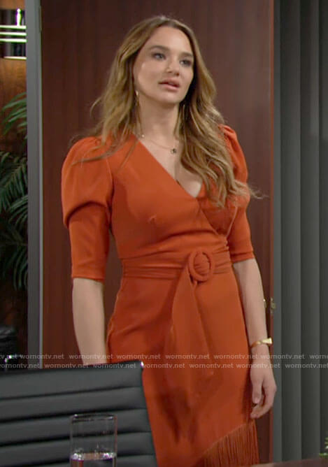 Summer's orange belted dress with fringe hem on The Young and the Restless