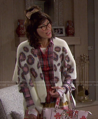 Susan's red and pink plaid shirt on Days of our Lives