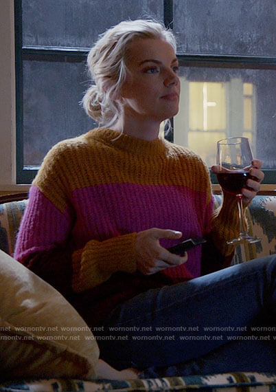 Sylvie's colorblock sweater on Chicago Fire