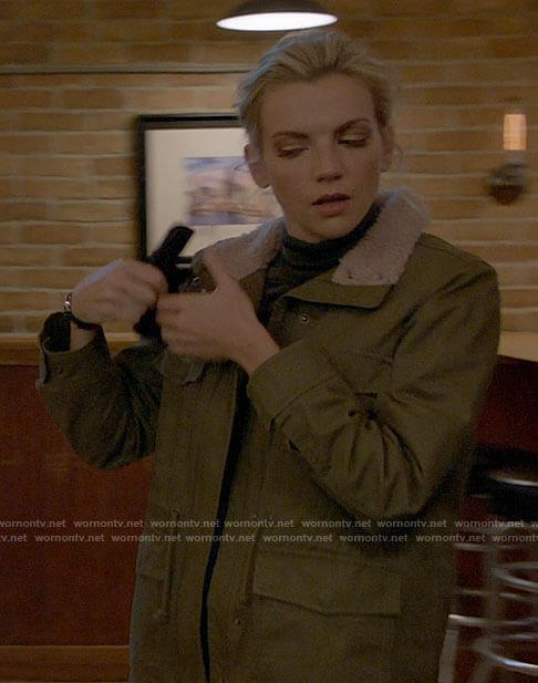 Sylvie's green jacket with pink sherpa collar on Chicago Fire