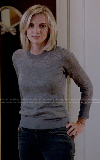 Sylvie's grey checkerboard sweater on Chicago Fire