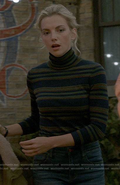 Sylvie's striped turtleneck top on Chicago Fire