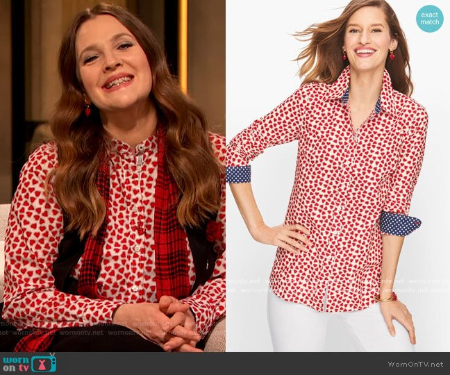 Classic Cotton Shirt with Dotted Hearts by Talbots worn by Drew Barrymore  on The Drew Barrymore Show