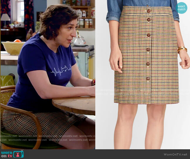Talbots Plaid Button Front Skirt worn by Kat Silver (Mayim Bialik) on Call Me Kat