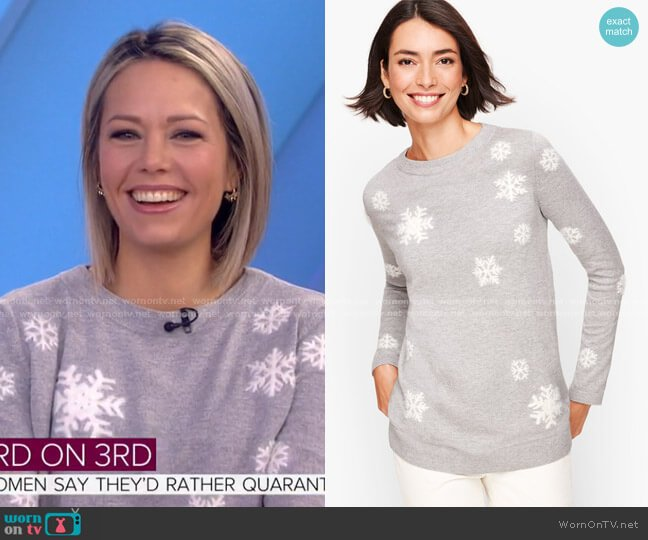 Textured Snowflake Sweater by Talbots worn by Dylan Dreyer  on Today