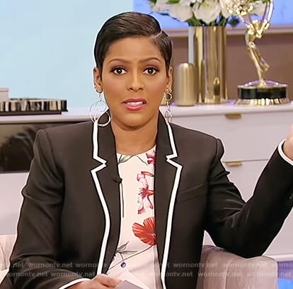 Tamron's floral top and black contrast trim blazer on Tamron Hall Show