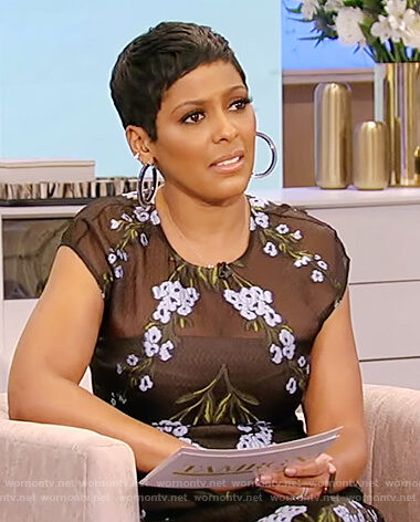 Tamron's black floral sheer dress on Tamron Hall Show