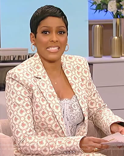 Tamron's floral blazer with lace bustier top on Tamron Hall Show