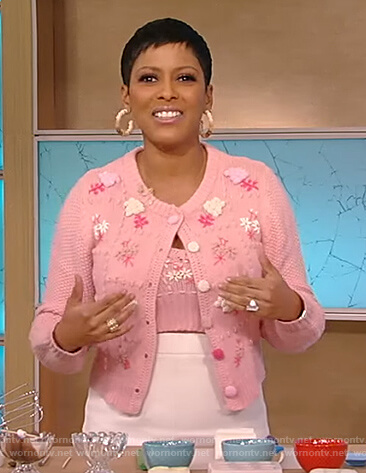 Tamron's pink applique floral cardigan on Tamron Hall Show