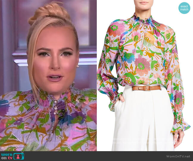 Alexis Floral-Print Top by Tanya Taylor worn by Meghan McCain  on The View