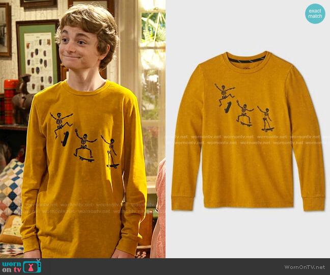 Long Sleeve Skateboard Graphic T-Shirt by Art Class at Target worn by Finn Sawyer (Will Buie Jr) on Bunkd