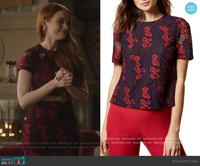 Thallia Back Neck Bow Lace Top by Ted Baker worn by Cheryl Blossom (Madelaine Petsch) on Riverdale