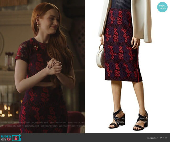 Zinniaa Pencil Lace Midi Skirt by Ted Baker worn by Cheryl Blossom (Madelaine Petsch) on Riverdale