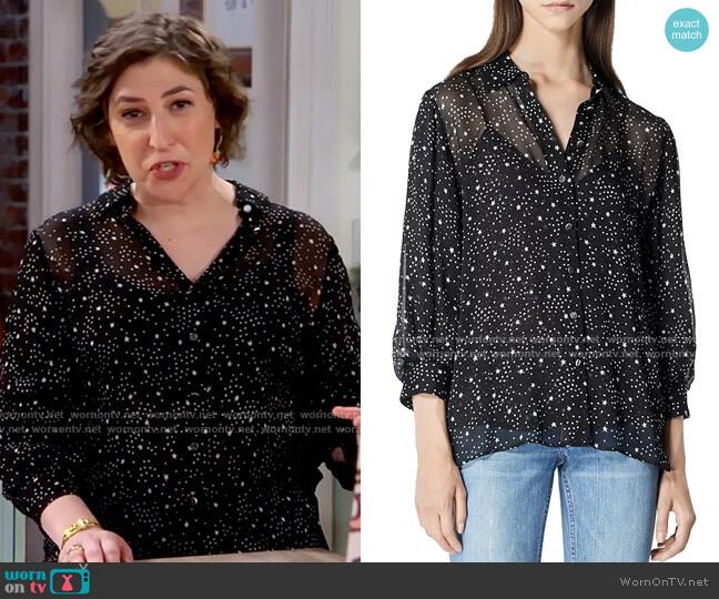 The Kooples Flowing Star Print Black Shirt worn by Kat Silver (Mayim Bialik) on Call Me Kat