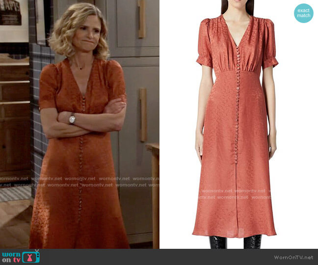 The Kooples Button Front Jacquard Midi Dress worn by Jean Raines (Kyra Sedgwick) on Call Your Mother