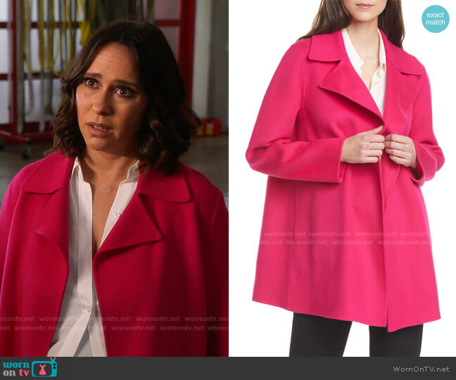Wool & Cashmere Overlay Coat by Theory worn by Maddie Kendall (Jennifer Love Hewitt) on 9-1-1
