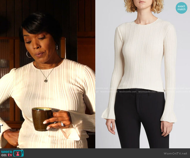 Evian Stretch Linear Knit Top by Theory worn by Athena Grant (Angela Bassett) on 9-1-1
