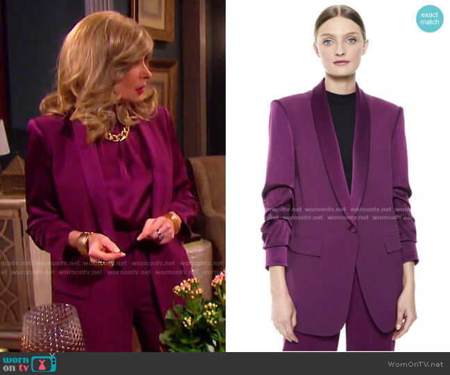 Ronnie Scrunched Sleeve Blazer by Alice + Olivia worn by Cady McClain on Days of our Lives