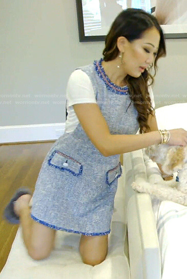 Tiffany's blue tweed dress on The Real Housewives of Dallas
