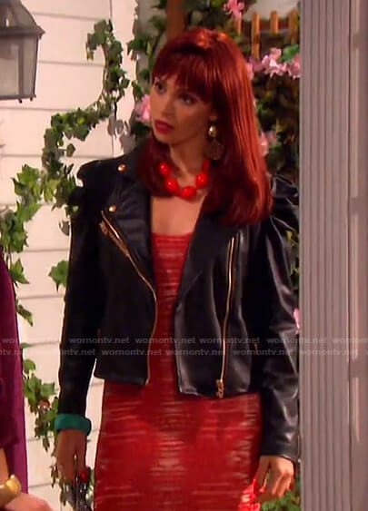 Tiffany's black puff sleeve moto jacket on Days of our Lives