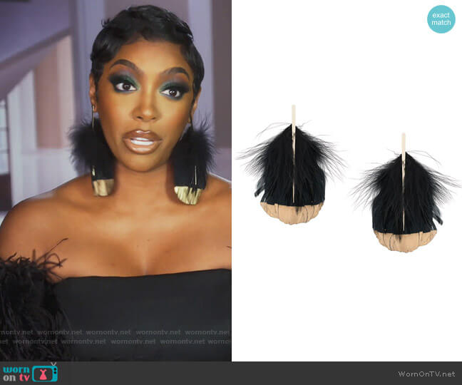 Feather Detail Drop Earrings by Tom Ford worn by Porsha Williams  on The Real Housewives of Atlanta