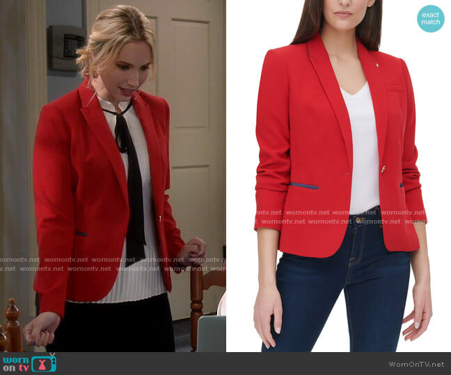 Tommy Hilfiger Piqué Knit Patch Blazer worn by Mandy Baxter (Molly McCook) on Last Man Standing