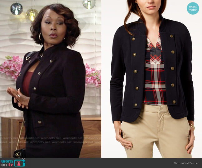 Tommy Hilfiger Military Band Jacket worn by Naya Benedict (Ptosha Storey) on The Young & the Restless