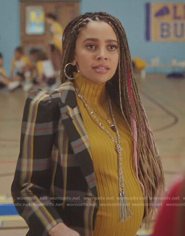 Toni's black plaid puff sleeve blazer on Riverdale