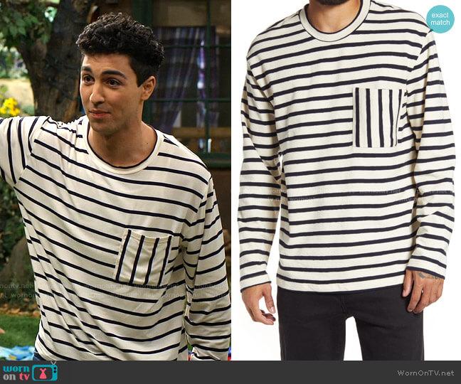 Boxy Stripe Pocket Sweatshirt by Topman worn by Parker Preston (Trevor Tordjman) on Bunkd
