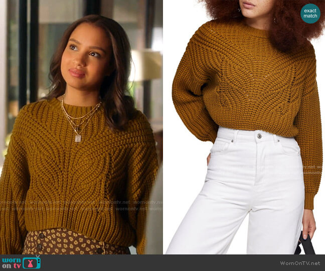 Butterfly Super Crop Sweater by Topshop worn by May Grant (Corinne Massiah) on 9-1-1